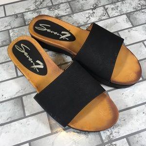 Seven 7 black slide sandal shoes size 8
